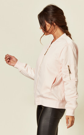 Oversized Satin Bomber Jacket in Pink by CY Boutique