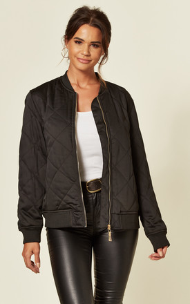 Oversized Satin Quilted Bomber Jacket in Black by CY Boutique