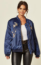 Blue Quilted Satin Bomber Jacket with Bird & Flower Embroidery by CY Boutique