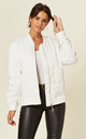 Oversized Satin Quilted Bomber Jacket in White by CY Boutique