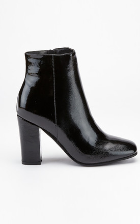 Black patent round toe ankle boots with zip by LILY LULU FASHION
