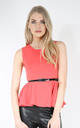 Carley Sleeveless Belted Peplum Top In Coral by Oops Fashion