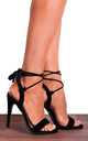 Black Faux Suede Barely There Wrap Round Lace Ups Peep Toes Strappy Sandals High Heels by Shoe Closet