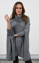 Oversized High Neck Jumper in Grey by Lucy Sparks