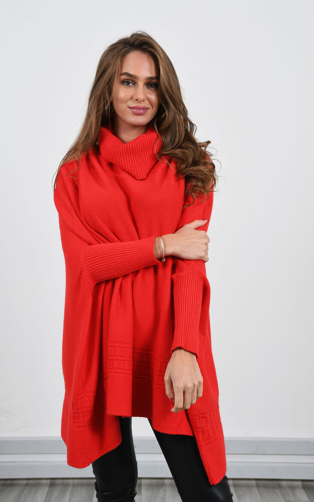 Oversized High Neck Jumper in Red by Lucy Sparks