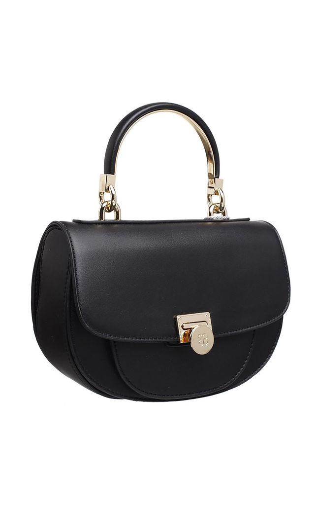 FLAP OVER TOP HANDLE SADDLE BAG BLACK by BESSIE LONDON