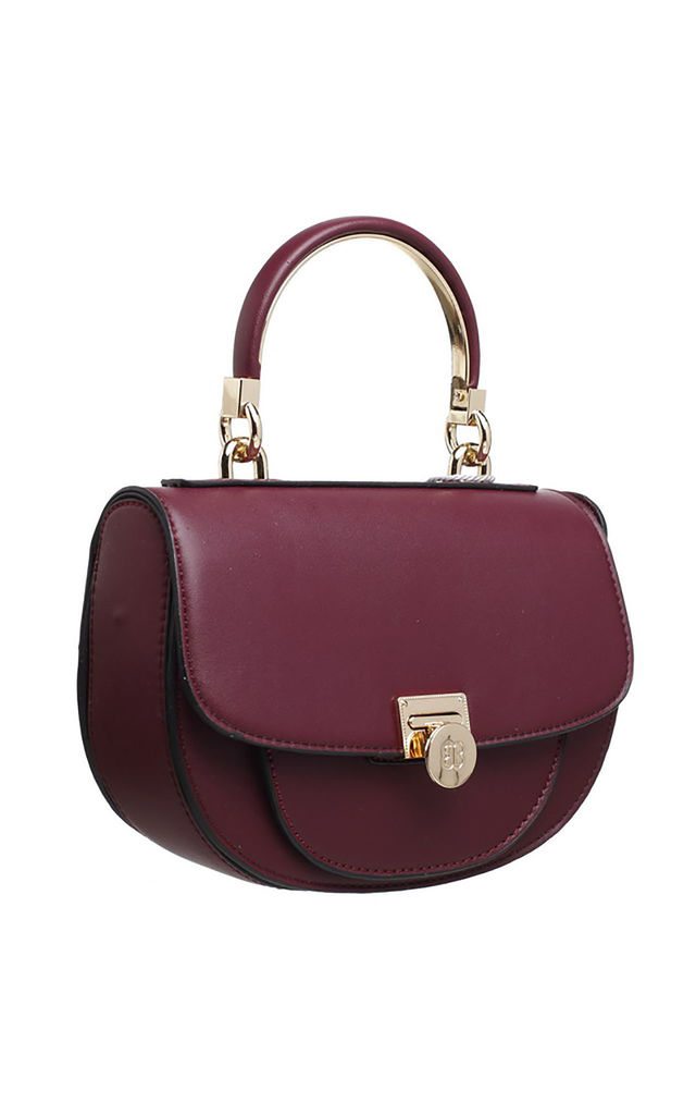 FLAP OVER TOP HANDLE SADDLE BAG RED by BESSIE LONDON