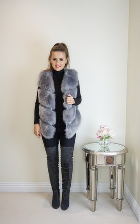 Short Faux Fur Gilet In Grey by Styled Clothing Product photo