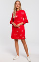 Sweatshirt Dress in Red Eyelash Print by MOE