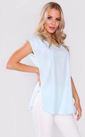 Daphine short sleeve top in blue by Diamantine