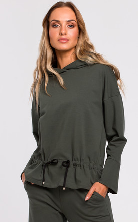 Military Green Hoodie with Drawstring Detail by MOE
