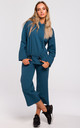 Ocean Blue Hoodie with Drawstring Detail by MOE