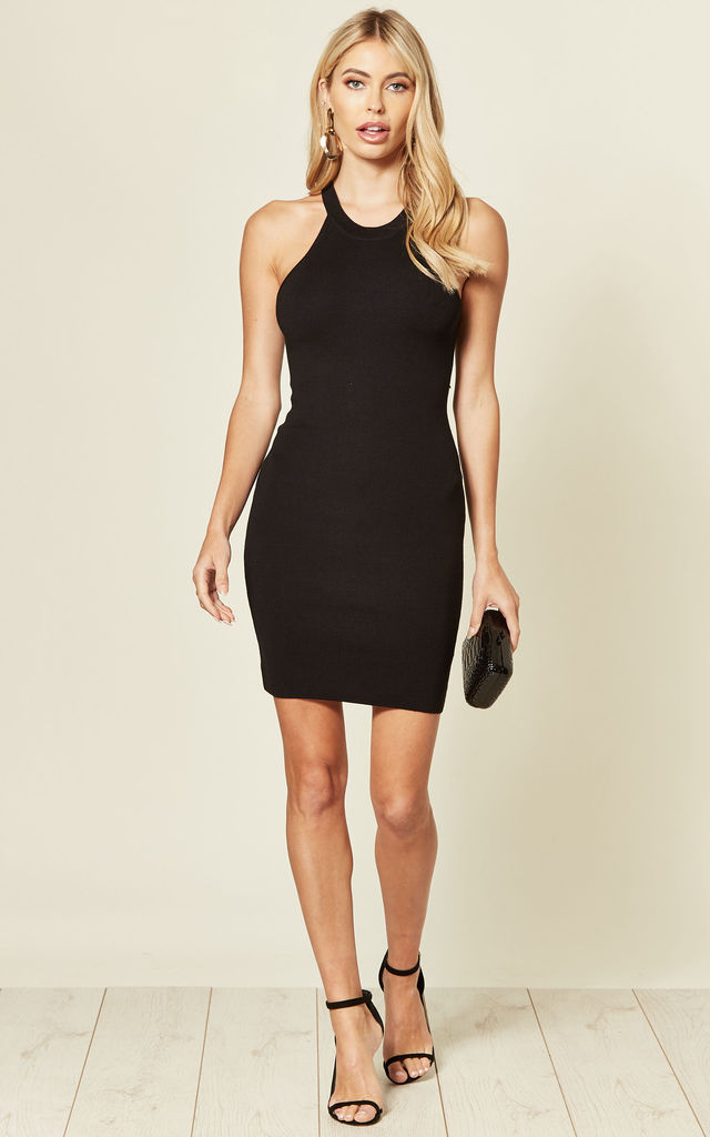 Knitted Bodycon Mini Dress in Black by CY Boutique
