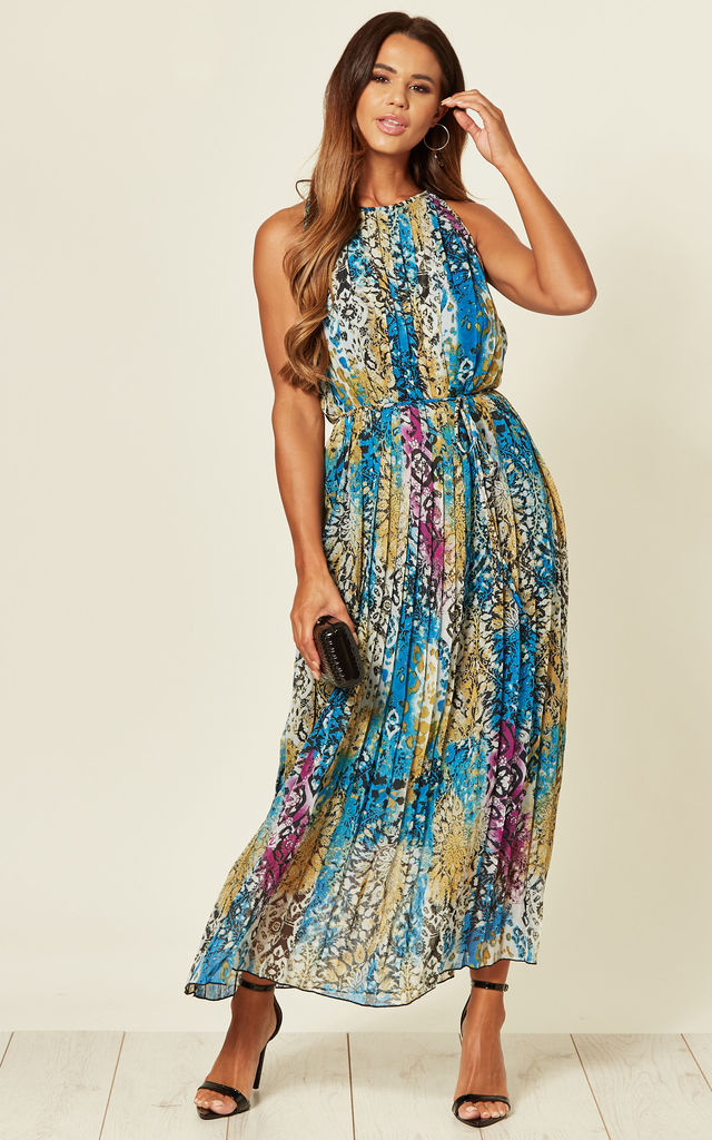 Printed maxi dress in blue leopard floral print by CY Boutique