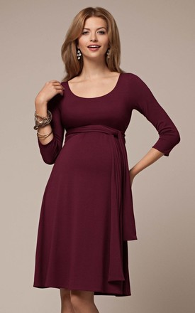Naomi Maternity & Nursing Dress in Mulberry Red by Tiffany Rose Maternity