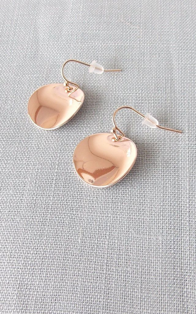 Rose Gold Disc Drop Earrings by Olivia Divine Jewellery