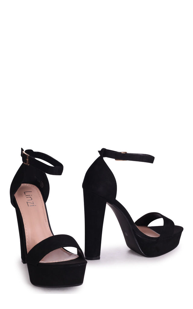 Ellen Black Suede Barely There Platforms by Linzi