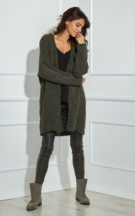 Long Soft Open Front Cardigan In Khaki by By Ooh La La Product photo