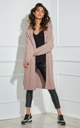 Long Soft Cable Knit Cardigan In Pink by By Ooh La La Product photo