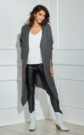 Long Asymmetric Cardigan In Graphite Grey by By Ooh La La Product photo