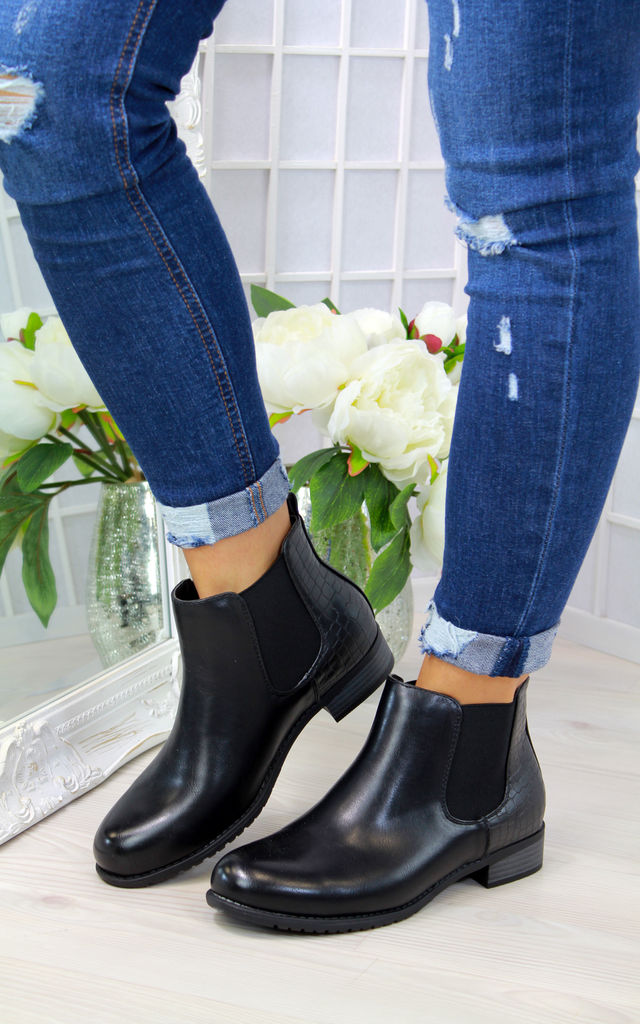 Black Croc Flat Chelsea Ankle Boots by Larena Fashion
