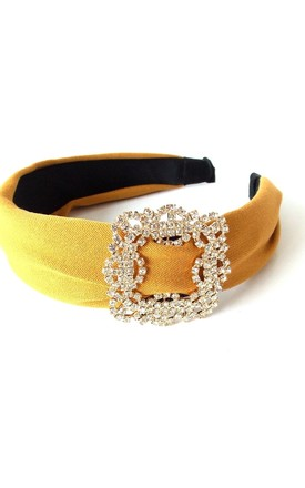 Mustard Yellow Crystal Buckle Hair Band by Olivia Divine Jewellery