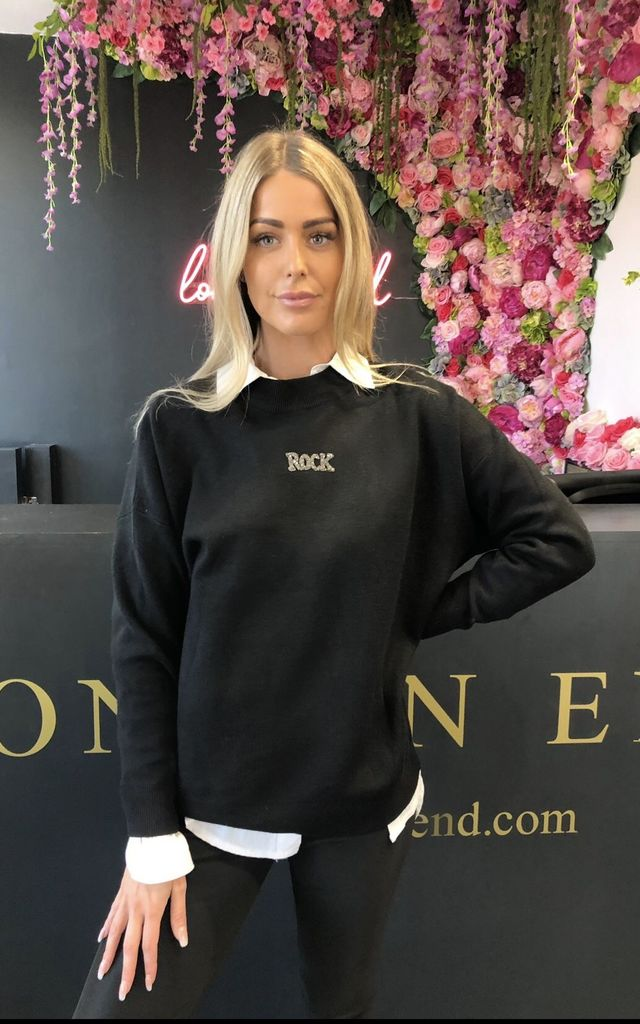 Black Rock and Roll Slogan Jumper by London End
