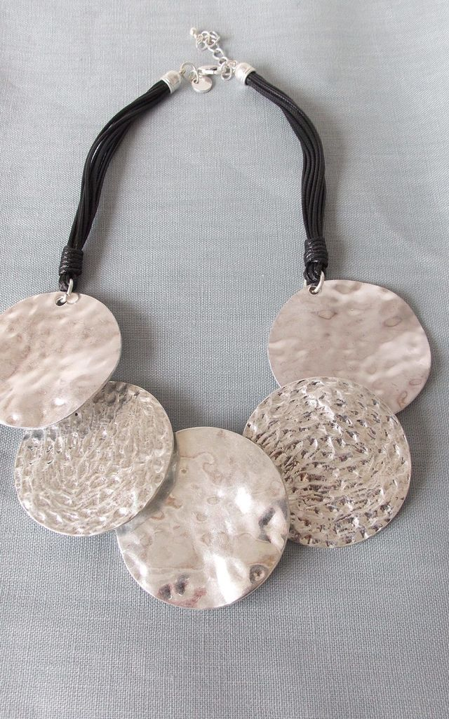 Silver Necklace with Chunky Hammered Discs by Olivia Divine Jewellery