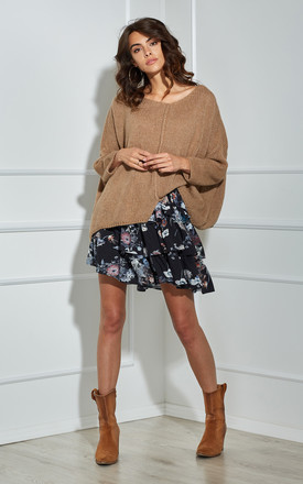 Oversized Knitted V Neck Top In Camel by By Ooh La La Product photo