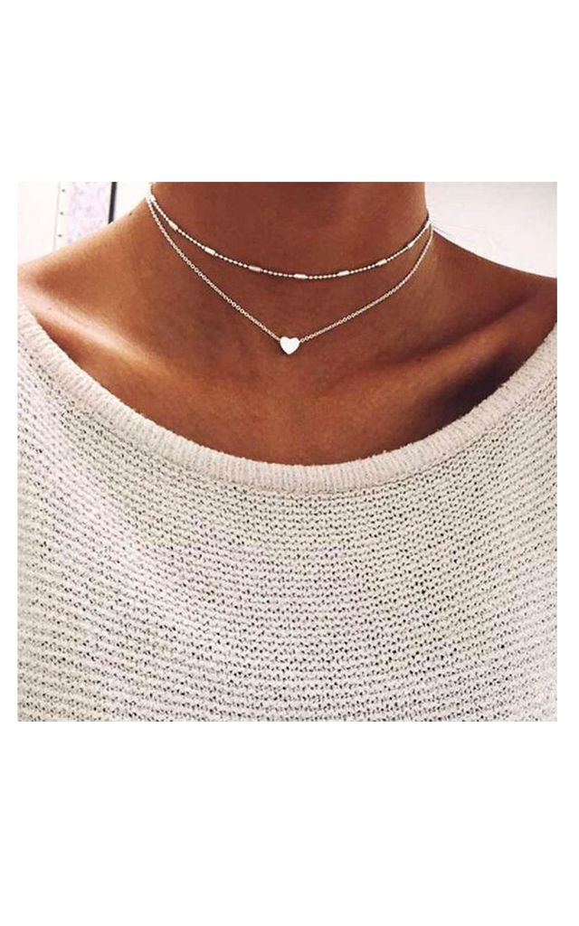 Gold Double Layer Heart Pendant Choker Necklace by Always Chic