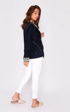 Neyla Long Sleeve Velvety Jacket in Marine Navy Blue by Diamantine