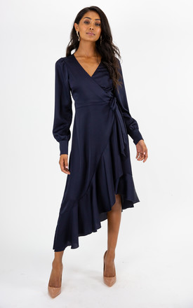 Charlotte Navy Frill Wrap Midi Dress by Style Cheat Product photo