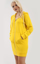 Yellow Long Sleeve Hooded Mini Dress by Oops Fashion