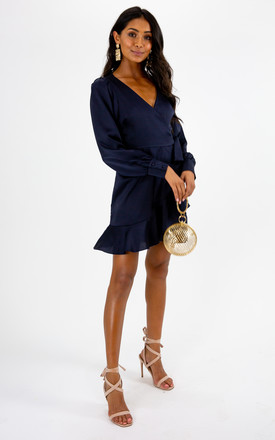Bobbi Wrap Satin Navy Dress by Style Cheat Product photo