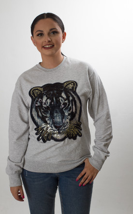 Oversized Grey Sweatshirt with Sequin Tiger by Fearless Alice Custom