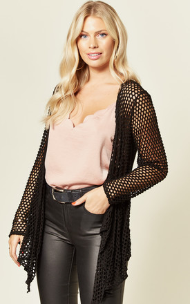 ODETTA Open Front Eyelet Cardigan in Black by Blue Vanilla