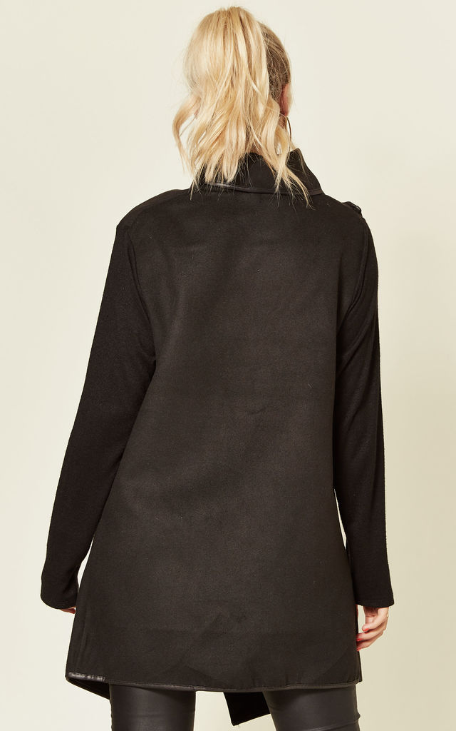 NEDA Black Double Breasted Coat with Clip Detail by Blue Vanilla