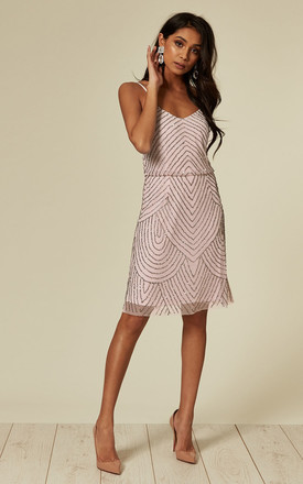 Light Pink Stripe Embellished Sequin Mini Dress by ANGELEYE