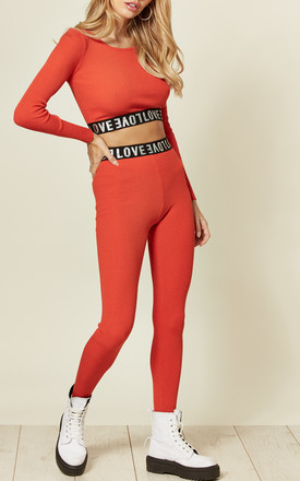 Orange Crop Top and Leggings Co-ord with Love Logo by CY Boutique