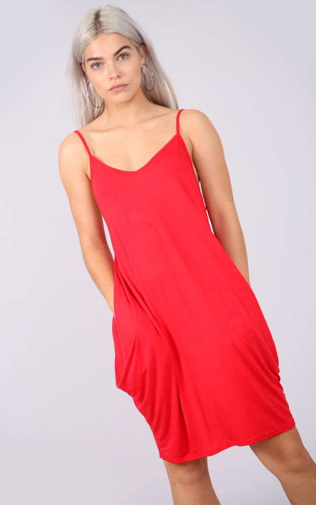Strappy Draped Jersey Mini Dress in Red by Oops Fashion