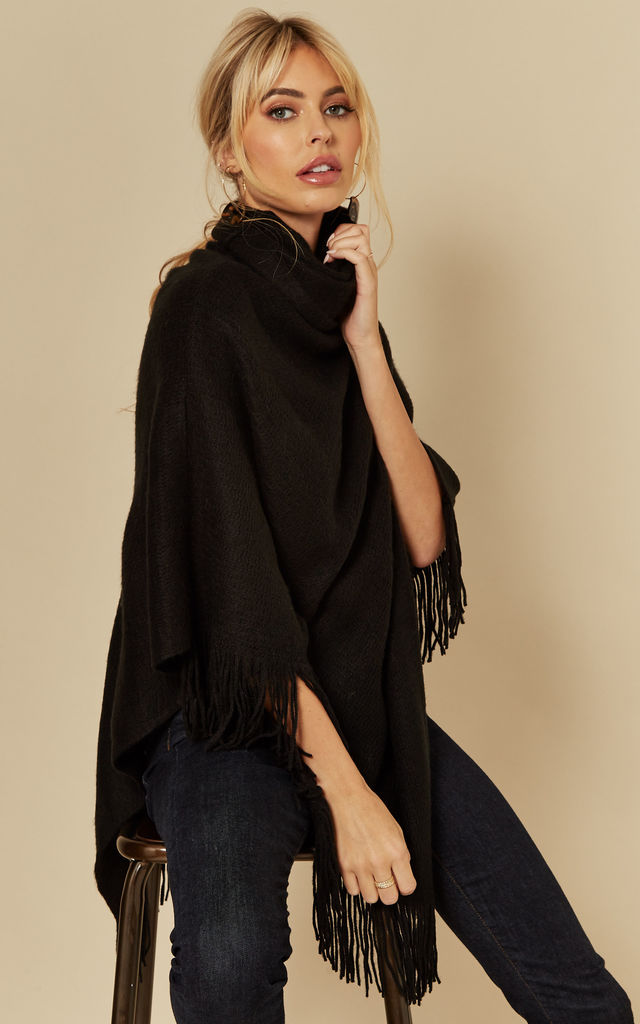 Cowl Neck Poncho with Fringed Hem in Black by Pieces