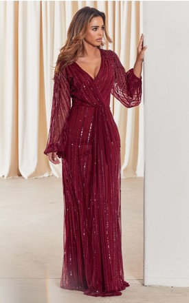 DAISIANNE BERRY EMBELLISHED MAXI DRESS WITH LONG SLEEVES by Sistaglam