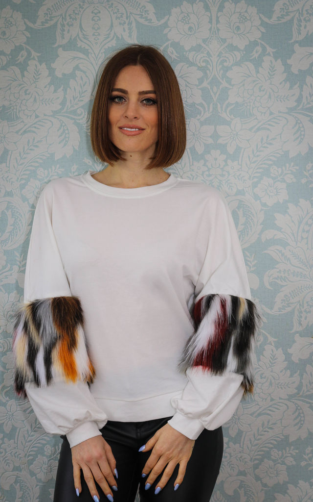 White Jumper with Contrasting Faux Fur Sleeves by Relle Fashion
