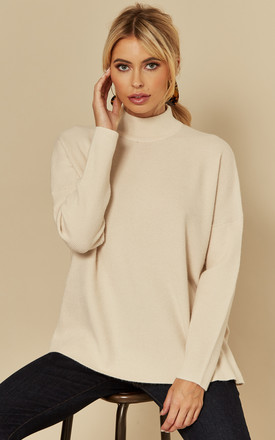 High Neck Jumper in cream by Selected Femme