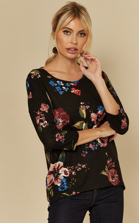 Three Quarter Sleeve Top In Black Floral by VM Product photo