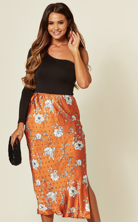 INDIA MIDI SKIRT IN RUST FLOWER POLKA DOT by Blue Vanilla