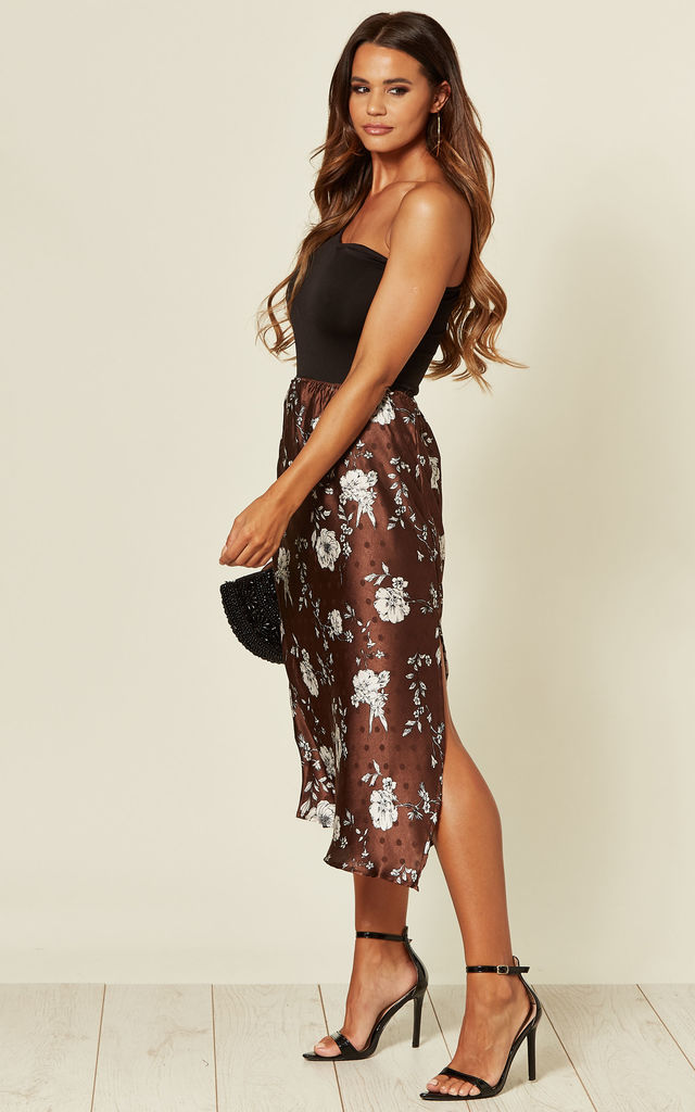 INDIA MIDI SKIRT IN CHOCOLATE FLOWER POLKA DOT by Blue Vanilla