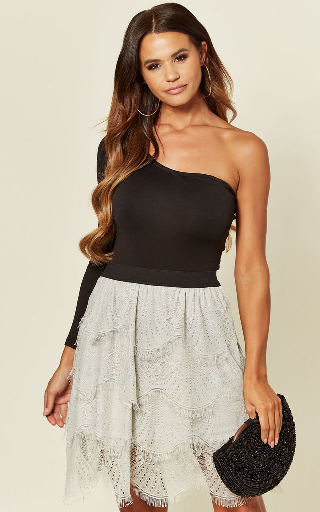 Layered Floral Lace Skirt in Grey by CY Boutique