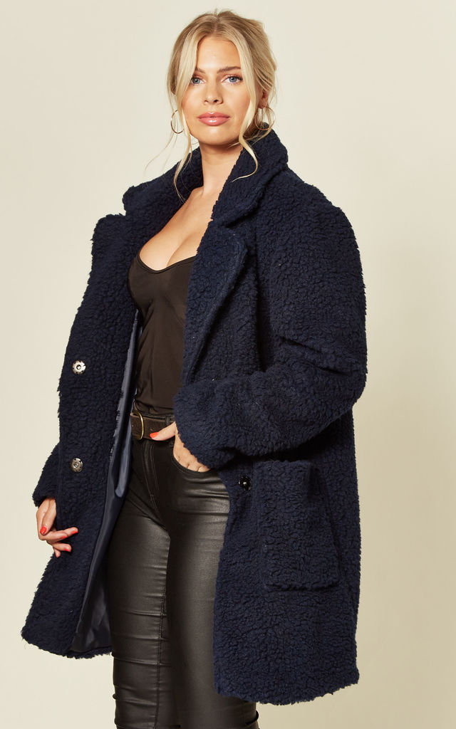 Jacqueline Oversized Teddy Coat in Navy by De La Creme Fashions