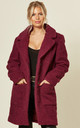 Jacqueline Oversized Teddy Coat in Fuchsia by De La Creme Fashions